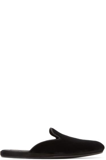Dolce & Gabbana - Black Velvet Slippers