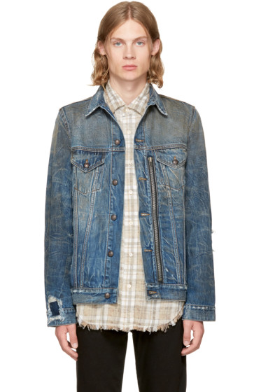 R13 - Indigo Denim Zippered Trucker Jacket