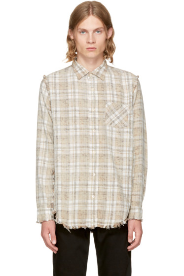 R13 - Ecru Plaid Inside Out Shirt