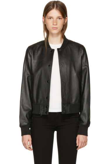 Rag & Bone - Black Leather Cooper Bomber Jacket