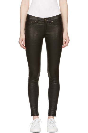 Rag & Bone - Black Skinny Leather Pants