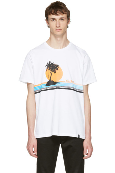 Rag & Bone - White 'New York' Vacation T-Shirt