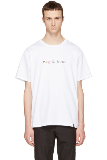 Rag & Bone - White Glitch Logo T-Shirt