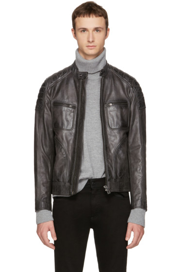 Belstaff - Grey Leather Weybridge Jacket
