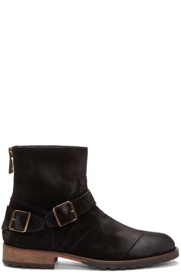 Belstaff - Black Suede Trailmaster Boots