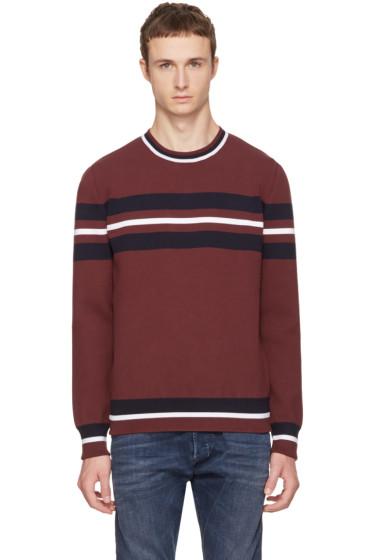 Diesel Black Gold - Burgundy Stripe Crewneck Sweater