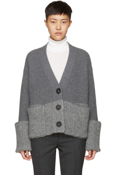 Moncler - Grey V-Neck Cardigan