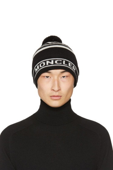 Moncler - Black Striped Pom Pom Beanie