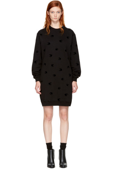 McQ Alexander McQueen - Black Micro Swallow Sweatshirt Dress
