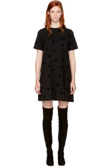 McQ Alexander McQueen - Black Micro Swallow Babydoll T-Shirt Dress