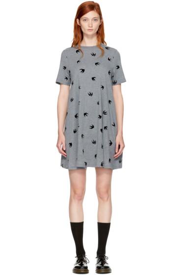McQ Alexander McQueen - Grey Micro Swallow Babydoll T-Shirt Dress