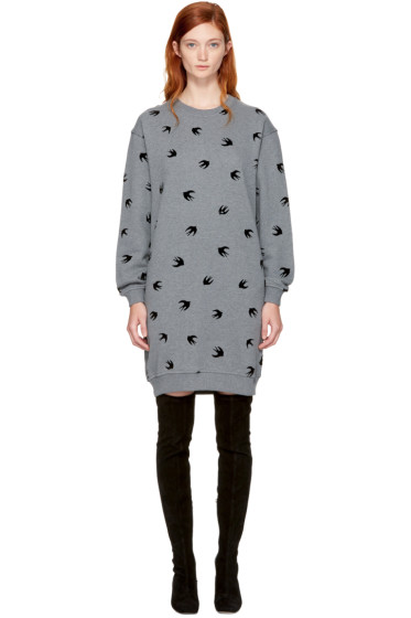 McQ Alexander McQueen - Grey Micro Swallow Sweatshirt Dress