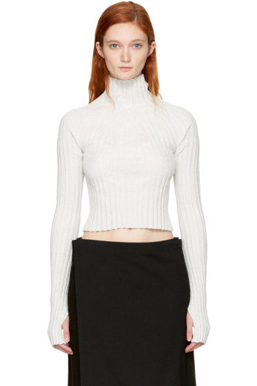 Helmut Lang - Off-White Cropped Velvet Turtleneck