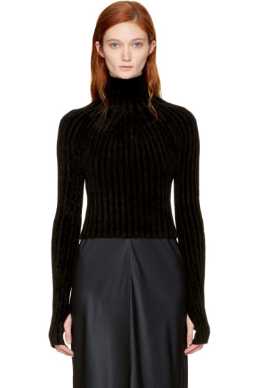 Helmut Lang - Black Cropped Velvet Turtleneck