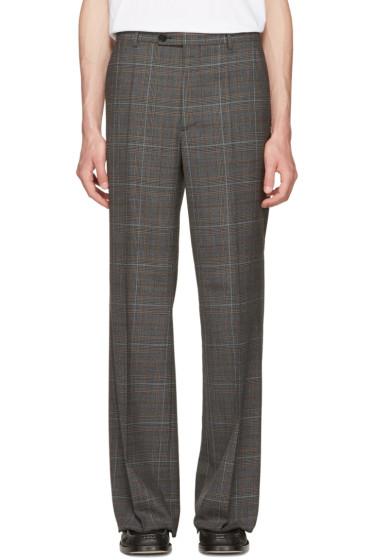 Maison Margiela - Grey Plaid Full Leg Trousers