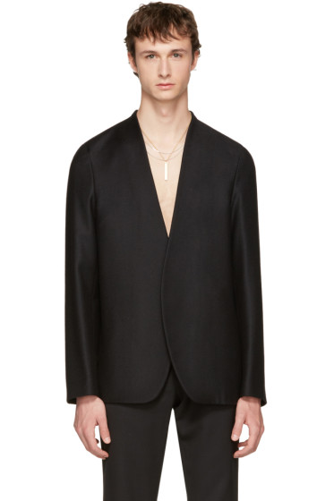 Maison Margiela - Black Flannel No Lapel Blazer