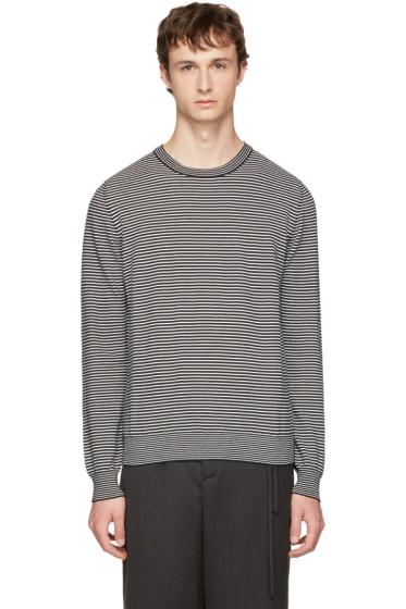 Maison Margiela - Black & White Striped Elbow Patch Sweater
