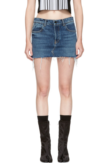Alexander Wang - Indigo Denim Cut-Off Miniskirt