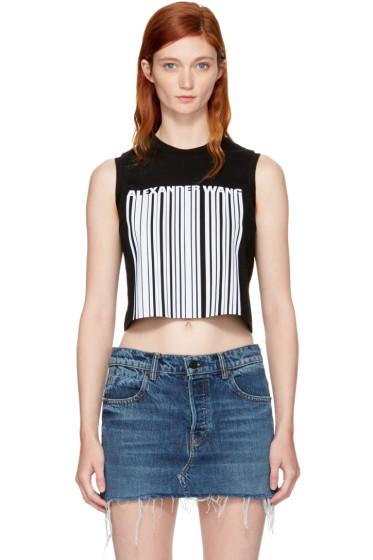 Alexander Wang - Black Sleeveless Cropped Barcode T-Shirt