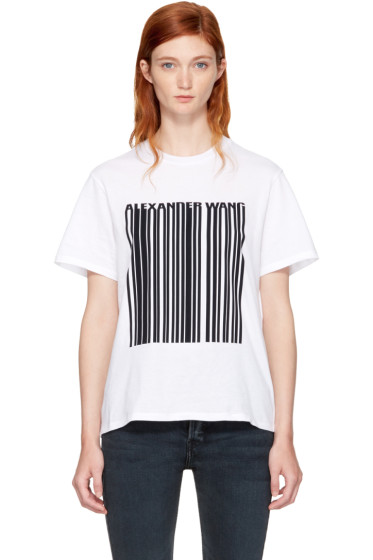 Alexander Wang - White Boxy Crewneck Barcode T-Shirt