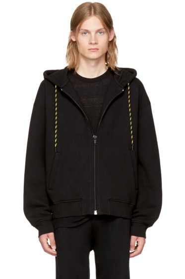 Alexander Wang - Black Dense Fleece Zip-Up Hoodie