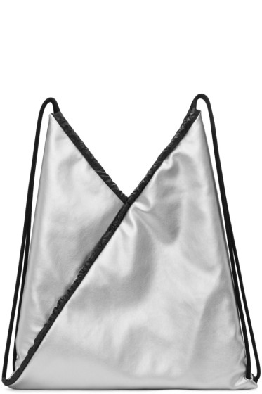 MM6 Maison Margiela - Silver Faux-Leather Backpack