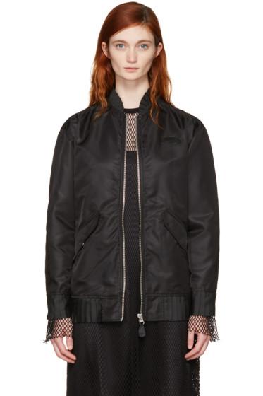 MM6 Maison Margiela - Black Ruffle Bomber Jacket