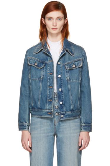MM6 Maison Margiela - Blue Denim Frayed Back Detail Jacket
