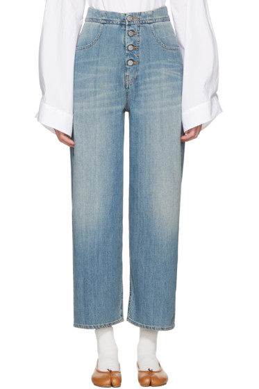 MM6 Maison Margiela - Blue Carryover Wide-Leg Crop Jeans