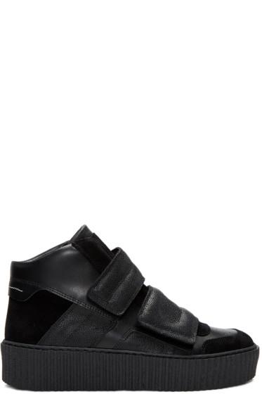 MM6 Maison Margiela - Black Platform High-Top Sneakers