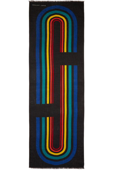 Marc Jacobs - Black Vintage Stripe Logo Scarf