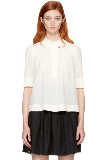 Marc Jacobs - Ivory Silk Collar Pin Blouse