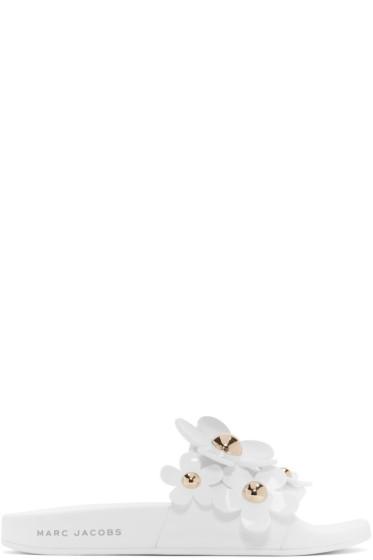 Marc Jacobs - White Daisy Aqua Slides