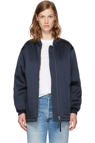 T by Alexander Wang - Navy Oversized Bomber Jacket