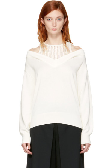 T by Alexander Wang - Ivory Layered V-Neck Pullover