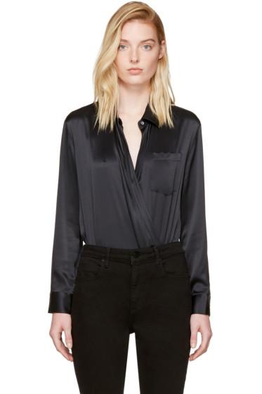 T by Alexander Wang - Black Silk Wrap Shirt Bodysuit
