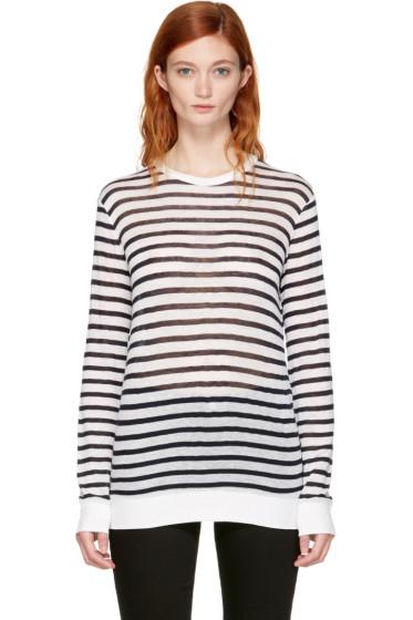 T by Alexander Wang - Navy & Ivory Long Sleeve Striped Crewneck T-Shirt