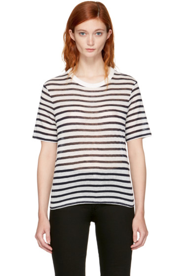 T by Alexander Wang - Navy & Ivory Striped Cropped T-Shirt
