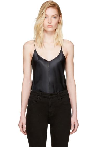 T by Alexander Wang - Black Silk Charmeuse Cami Bodysuit