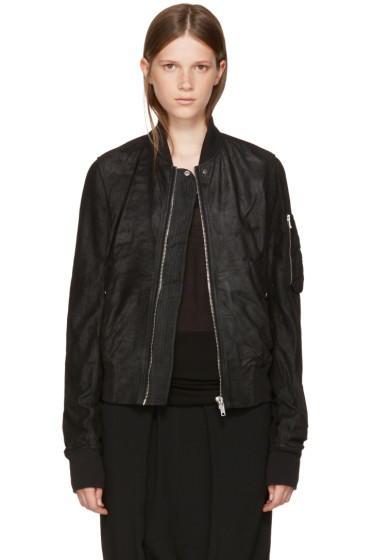 Rick Owens - Black Leather Flight Bomber Jacket