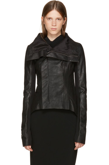 Rick Owens - Black Leather Naska Biker Jacket