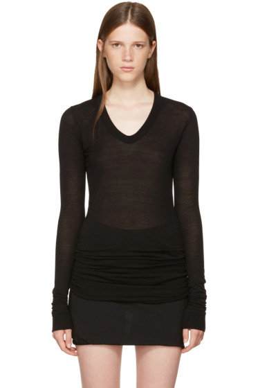 Rick Owens - Black Long Sleeve V-Neck T-Shirt