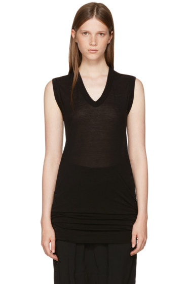Rick Owens - Black Sleeveless V-Neck T-Shirt