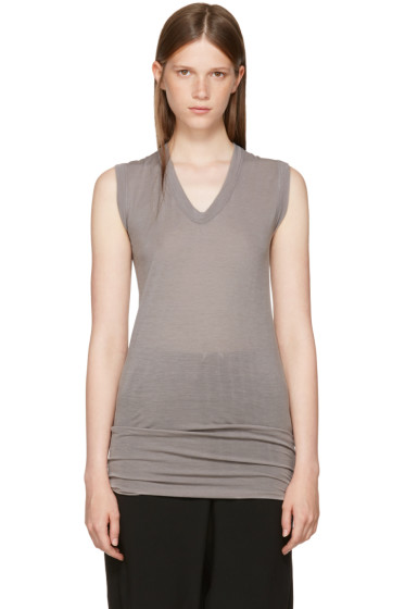 Rick Owens - Grey Sleeveless V-Neck T-Shirt