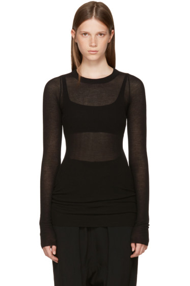 Rick Owens - Black Long Sleeve Rib T-Shirt