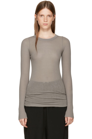Rick Owens - Grey Long Sleeve Rib T-Shirt