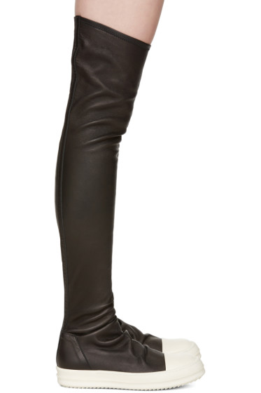 Rick Owens - Black Stocking Over-the-Knee Boots