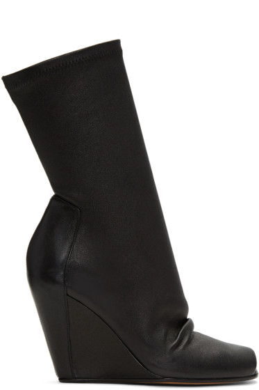 Rick Owens - Black Sock Wedge Boots