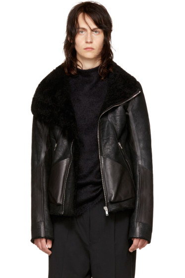 Rick Owens - Black Shearling & Leather Geo Jacket