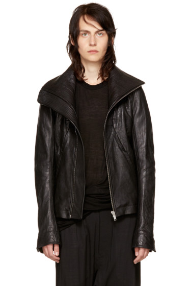 Rick Owens - Black Leather Geo Jacket